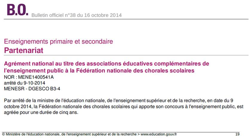 Extrait du Bulletin Officiel n°38 du 16 octobre 2014.
